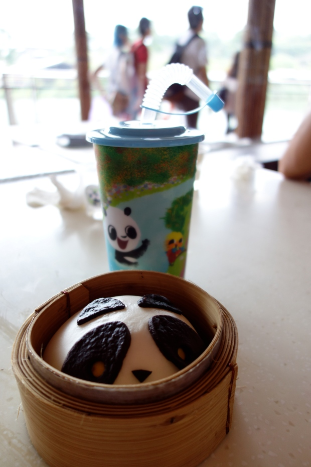 Panda Pau for $2.90 - available in chocolate custard and red bean flavours at the Panda Cafe